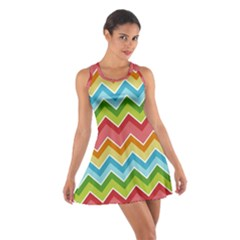 Colorful Background Of Chevrons Zigzag Pattern Cotton Racerback Dress