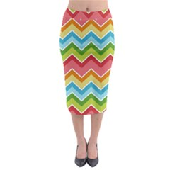 Colorful Background Of Chevrons Zigzag Pattern Midi Pencil Skirt