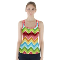 Colorful Background Of Chevrons Zigzag Pattern Racer Back Sports Top