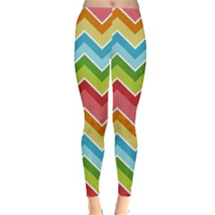Colorful Background Of Chevrons Zigzag Pattern Leggings