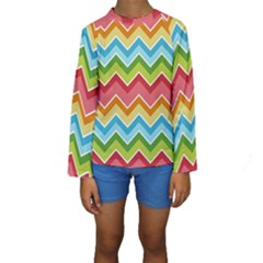 Colorful Background Of Chevrons Zigzag Pattern Kids  Long Sleeve Swimwear