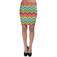 Colorful Background Of Chevrons Zigzag Pattern Bodycon Skirt