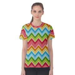 Colorful Background Of Chevrons Zigzag Pattern Women s Cotton Tee