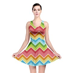 Colorful Background Of Chevrons Zigzag Pattern Reversible Skater Dress