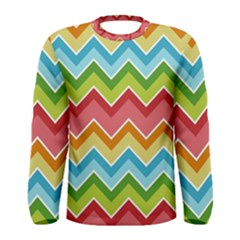 Colorful Background Of Chevrons Zigzag Pattern Men s Long Sleeve Tee