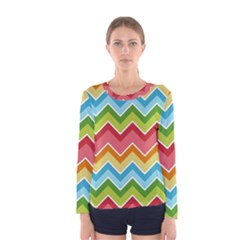 Colorful Background Of Chevrons Zigzag Pattern Women s Long Sleeve Tee