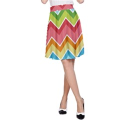 Colorful Background Of Chevrons Zigzag Pattern A-Line Skirt