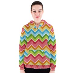 Colorful Background Of Chevrons Zigzag Pattern Women s Zipper Hoodie