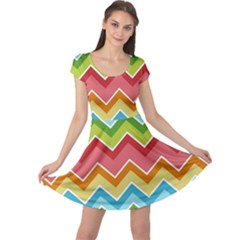 Colorful Background Of Chevrons Zigzag Pattern Cap Sleeve Dresses