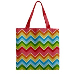 Colorful Background Of Chevrons Zigzag Pattern Zipper Grocery Tote Bag