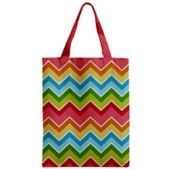 Colorful Background Of Chevrons Zigzag Pattern Zipper Classic Tote Bag