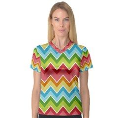 Colorful Background Of Chevrons Zigzag Pattern Women s V-Neck Sport Mesh Tee