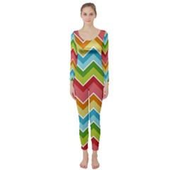 Colorful Background Of Chevrons Zigzag Pattern Long Sleeve Catsuit