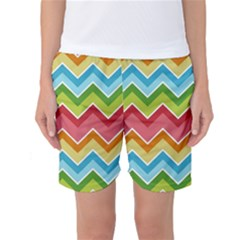 Colorful Background Of Chevrons Zigzag Pattern Women s Basketball Shorts