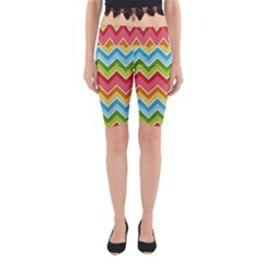 Colorful Background Of Chevrons Zigzag Pattern Yoga Cropped Leggings