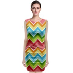 Colorful Background Of Chevrons Zigzag Pattern Classic Sleeveless Midi Dress