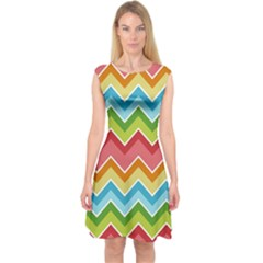 Colorful Background Of Chevrons Zigzag Pattern Capsleeve Midi Dress