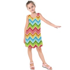 Colorful Background Of Chevrons Zigzag Pattern Kids  Sleeveless Dress