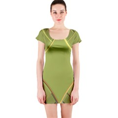 Fractal Green Diamonds Background Short Sleeve Bodycon Dress