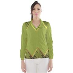 Fractal Green Diamonds Background Wind Breaker (women)
