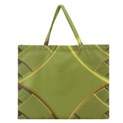 Fractal Green Diamonds Background Zipper Large Tote Bag