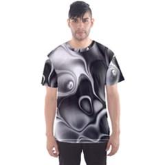 Fractal Black Liquid Art In 3d Glass Frame Men s Sport Mesh Tee