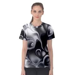 Fractal Black Liquid Art In 3d Glass Frame Women s Sport Mesh Tee