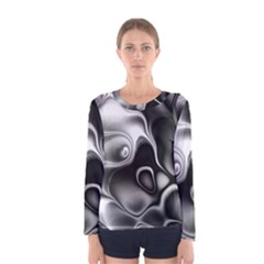 Fractal Black Liquid Art In 3d Glass Frame Women s Long Sleeve Tee