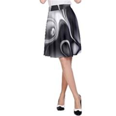 Fractal Black Liquid Art In 3d Glass Frame A-Line Skirt