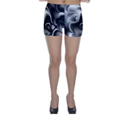 Fractal Black Liquid Art In 3d Glass Frame Skinny Shorts