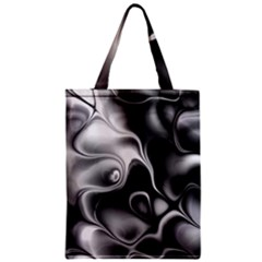 Fractal Black Liquid Art In 3d Glass Frame Zipper Classic Tote Bag