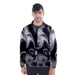 Fractal Black Liquid Art In 3d Glass Frame Wind Breaker (men)