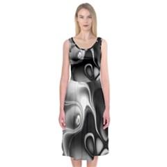Fractal Black Liquid Art In 3d Glass Frame Midi Sleeveless Dress