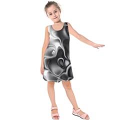 Fractal Black Liquid Art In 3d Glass Frame Kids  Sleeveless Dress