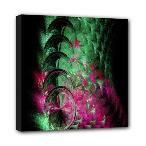 Pink And Green Shapes Make A Pretty Fractal Image Mini Canvas 8  X 8