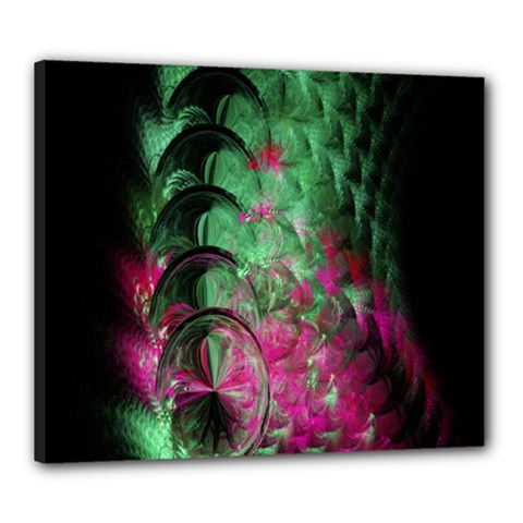 Pink And Green Shapes Make A Pretty Fractal Image Canvas 24  X 20