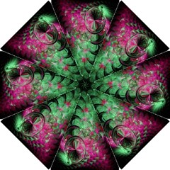 Pink And Green Shapes Make A Pretty Fractal Image Hook Handle Umbrellas (small)