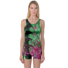 Pink And Green Shapes Make A Pretty Fractal Image One Piece Boyleg Swimsuit