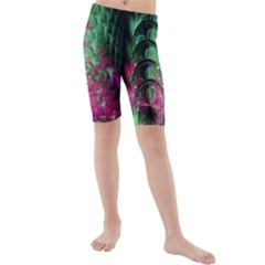 Pink And Green Shapes Make A Pretty Fractal Image Kids  Mid Length Swim Shorts
