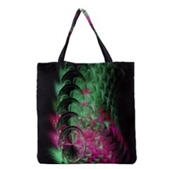 Pink And Green Shapes Make A Pretty Fractal Image Grocery Tote Bag