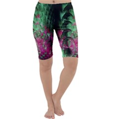 Pink And Green Shapes Make A Pretty Fractal Image Cropped Leggings