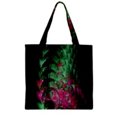 Pink And Green Shapes Make A Pretty Fractal Image Zipper Grocery Tote Bag