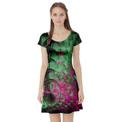 Pink And Green Shapes Make A Pretty Fractal Image Short Sleeve Skater Dress