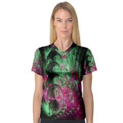 Pink And Green Shapes Make A Pretty Fractal Image Women s V-Neck Sport Mesh Tee