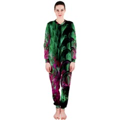 Pink And Green Shapes Make A Pretty Fractal Image OnePiece Jumpsuit (Ladies)