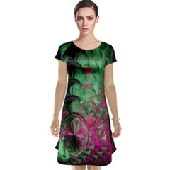 Pink And Green Shapes Make A Pretty Fractal Image Cap Sleeve Nightdress
