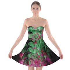 Pink And Green Shapes Make A Pretty Fractal Image Strapless Bra Top Dress