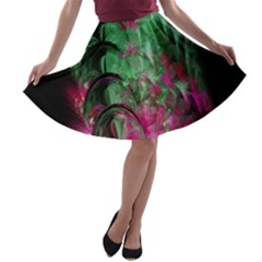 Pink And Green Shapes Make A Pretty Fractal Image A-line Skater Skirt