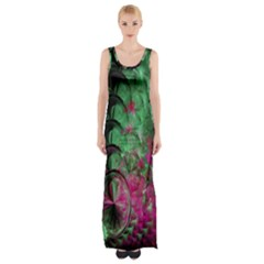Pink And Green Shapes Make A Pretty Fractal Image Maxi Thigh Split Dress