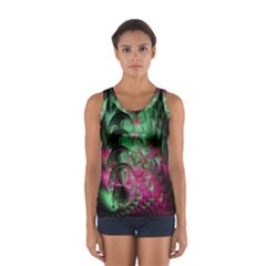 Pink And Green Shapes Make A Pretty Fractal Image Women s Sport Tank Top